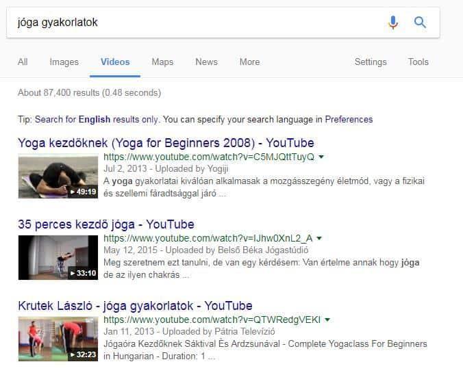jóga gyakorlatok, youtube találatok