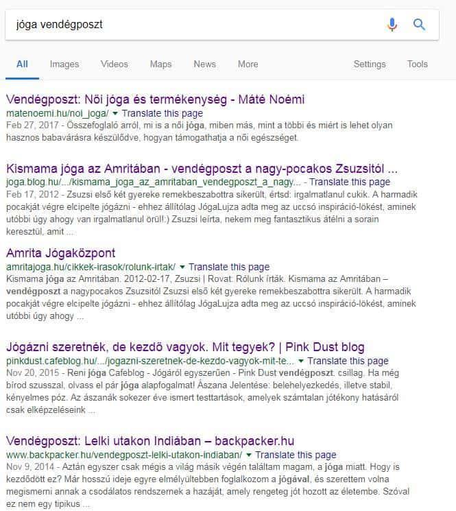 jóga vendégposzt google keresés