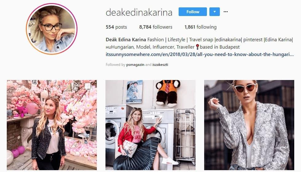 Deák Edina Karina influencer instagram oldala
