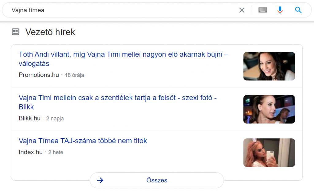 google top stories - vezeto hirek feature snippet